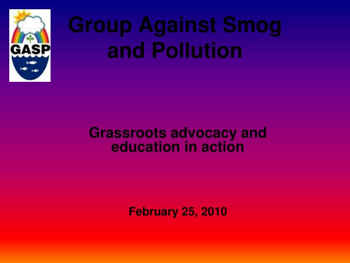group against smog and pollution n.
