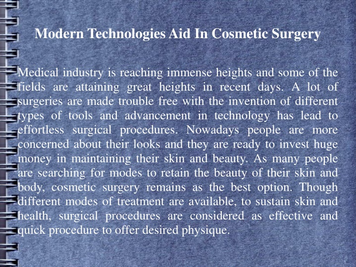 modern technologies aid in cosmetic surgery n.