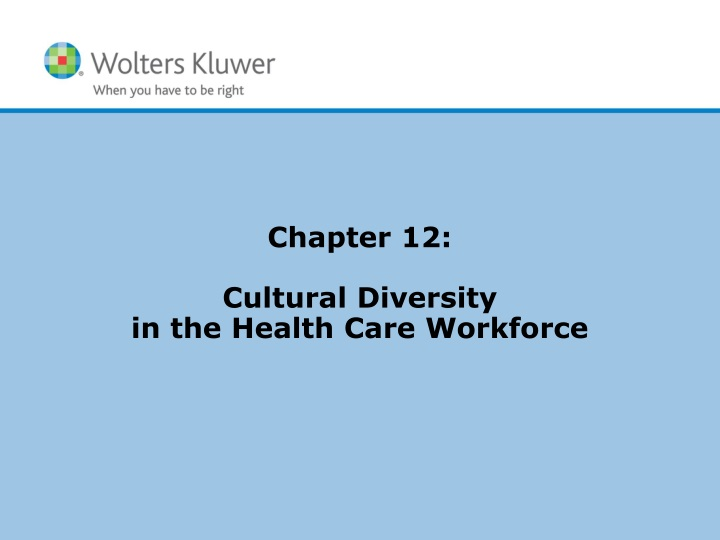 chapter 12 cultural diversity in the health care workforce n.