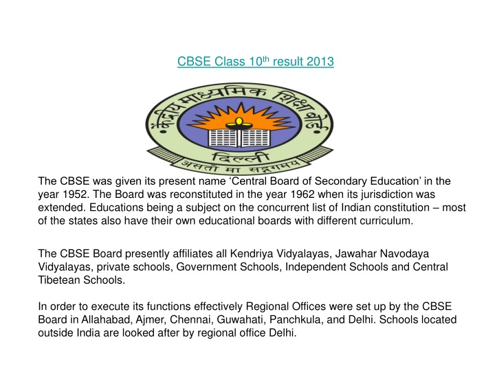 cbse class 10 th result 2013 the cbse was given n.
