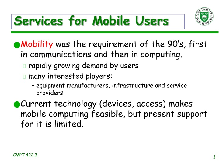 services for mobile users n.
