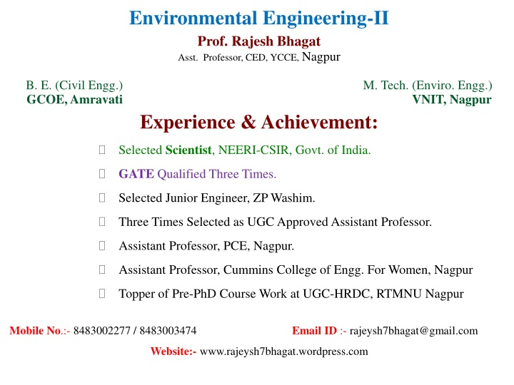 environmental engineering ii prof rajesh bhagat n.