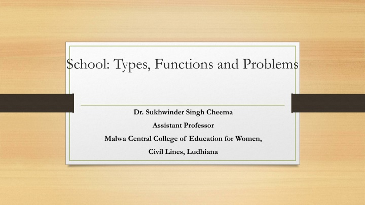 school types functions and problems n.