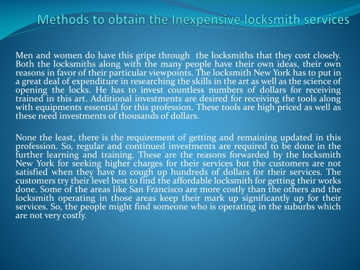 methods to obtain the inexpensive locksmith services n.