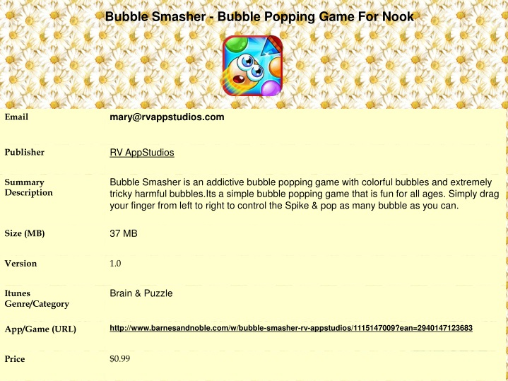 bubble smasher bubble popping game for nook n.