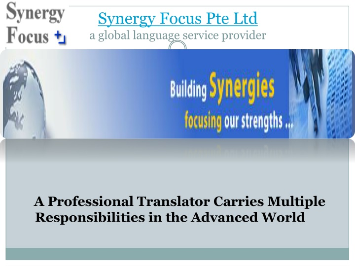 synergy focus pte ltd a global language service provider n.