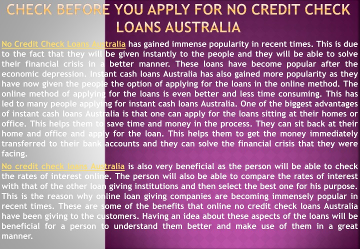 check before you apply for n o credit check loans australia n.