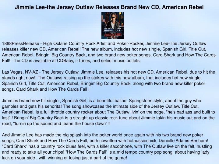 jimmie lee the jersey outlaw releases brand n.