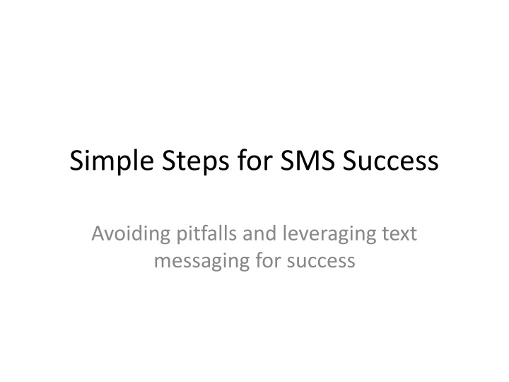 simple steps for sms success n.
