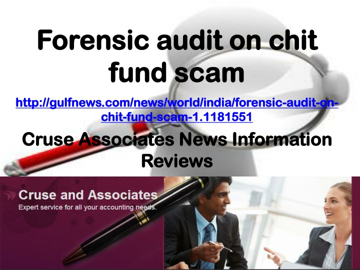 forensic audit on chit fund scam n.