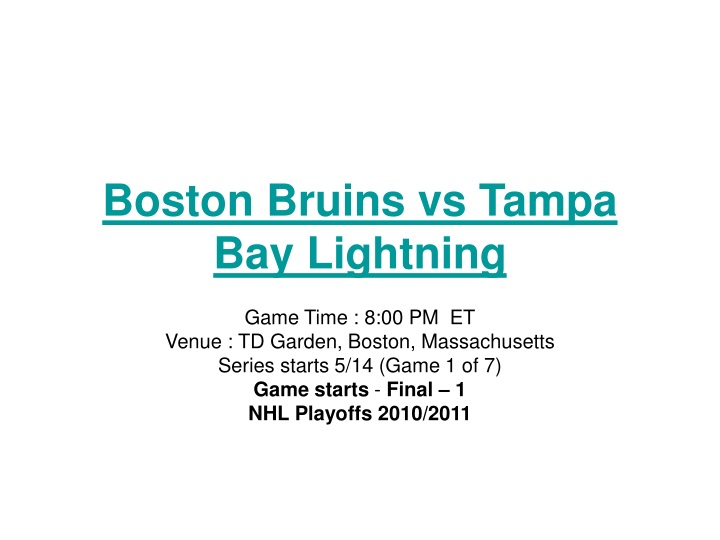 boston bruins vs tampa bay lightning n.