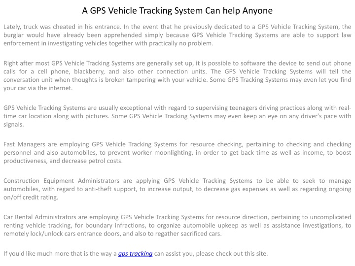 a gps vehicle tracking system can help anyone n.
