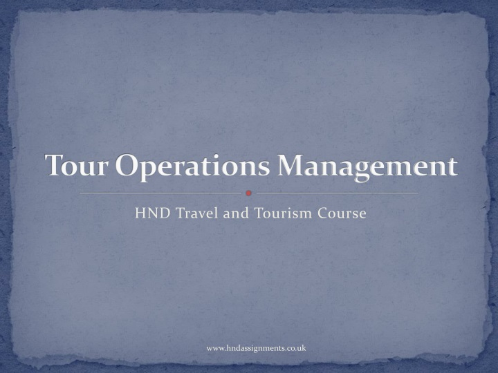 tour operations management n.