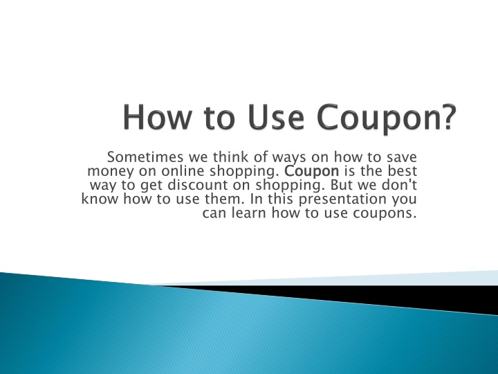 how to use coupon n.