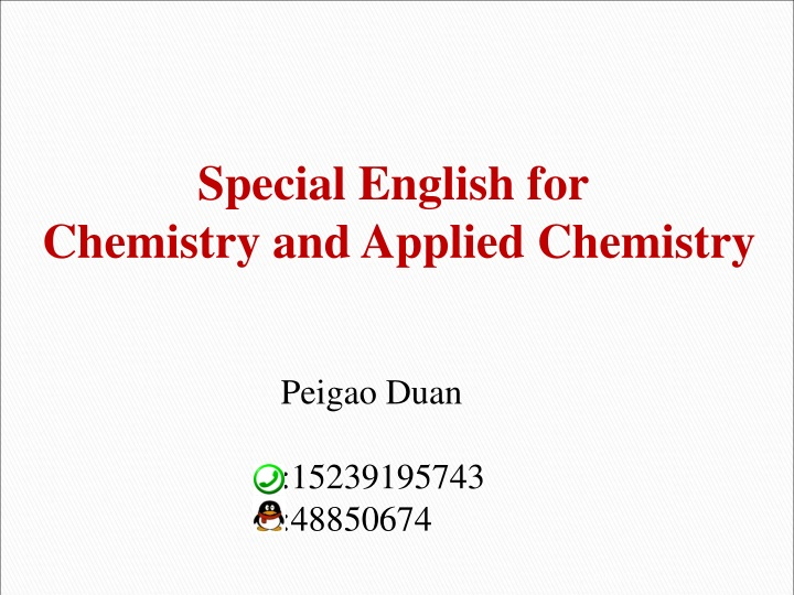 special english for chemistry and applied n.
