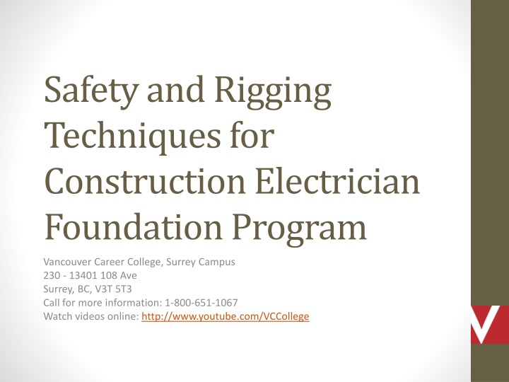 safety and rigging techniques for construction electrician foundation program n.