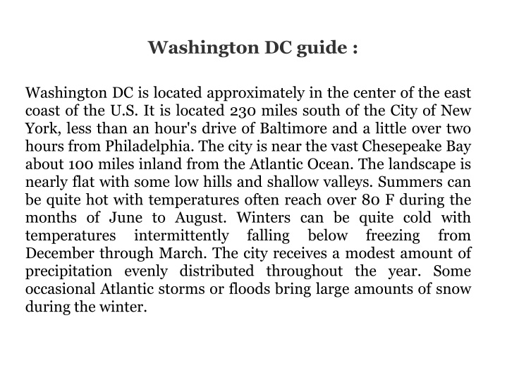 washington dc guide n.