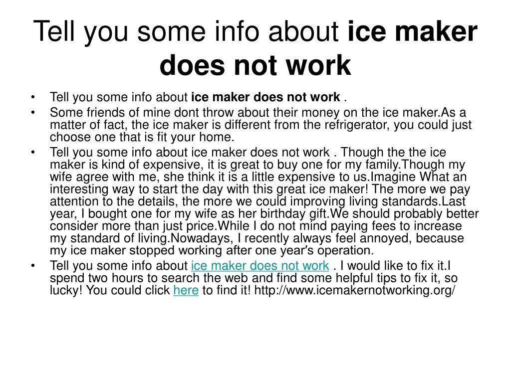 Ppt Ice Maker Not Making Ice Powerpoint Presentation Free Download Id 1280798