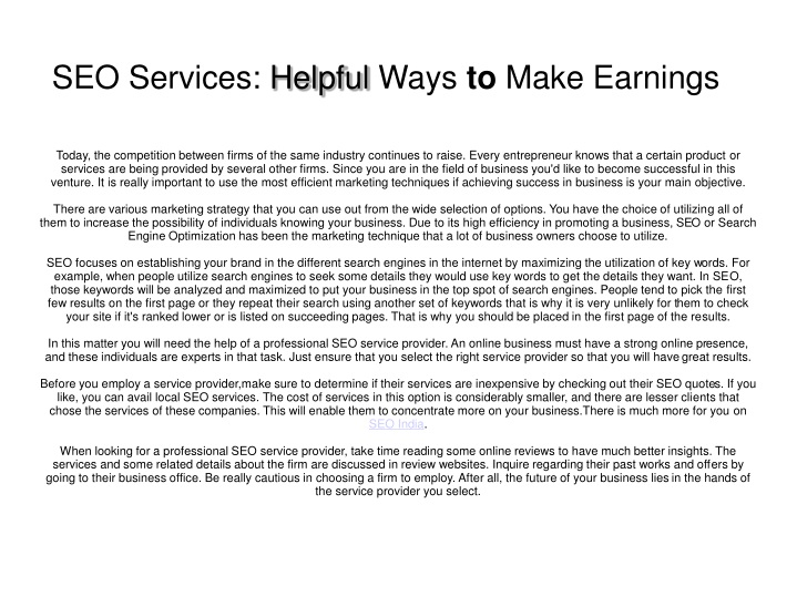 seo services helpful ways to make earnings n.