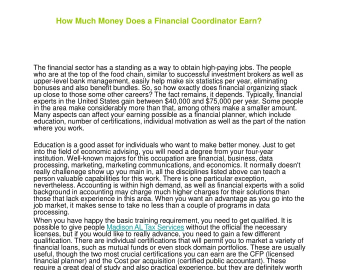 how much money does a financial coordinator earn n.