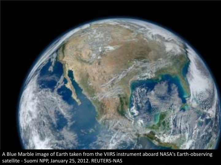 a blue marble image of earth taken from the viirs n.