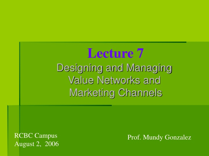 lecture 7 designing and managing value networks n.