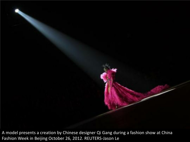 a model presents a creation by chinese designer n.