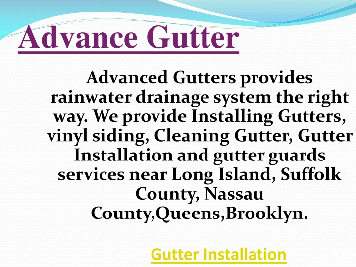 advance gutter n.