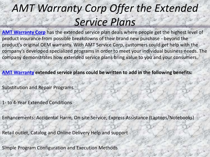 amt warranty corp offer the extended service plans n.