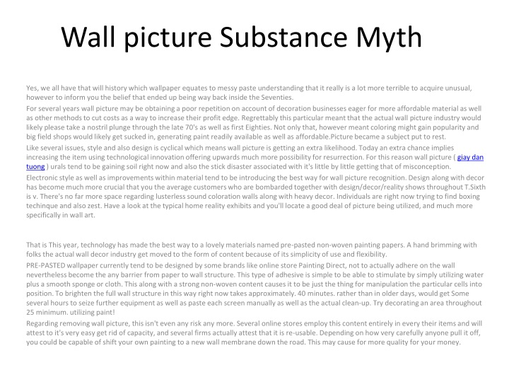 wall picture substance myth n.