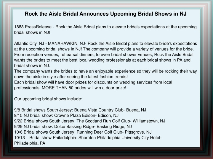 rock the aisle bridal announces upcoming bridal n.