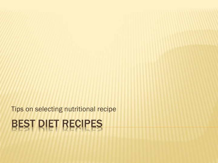 tips on selecting nutritional recipe n.