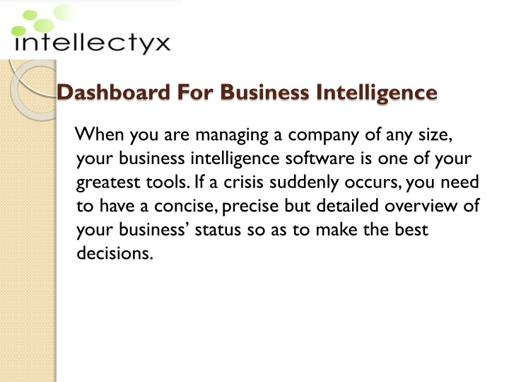 dashboard for business intelligence n.