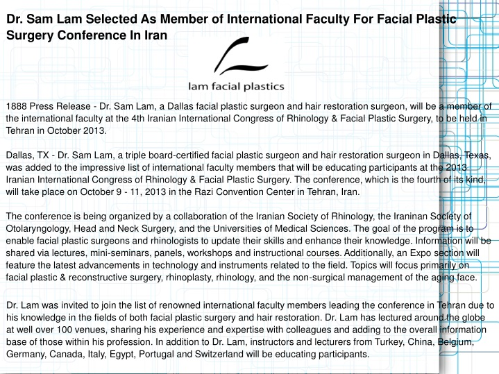 dr sam lam selected as member of international n.