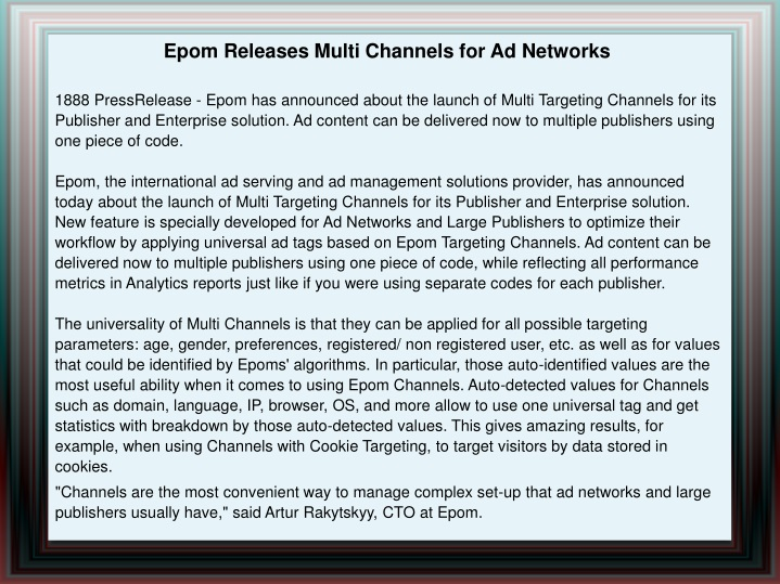 epom releases multi channels for ad networks n.