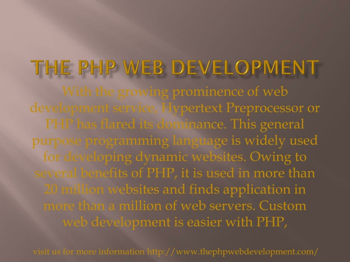 the php web development n.