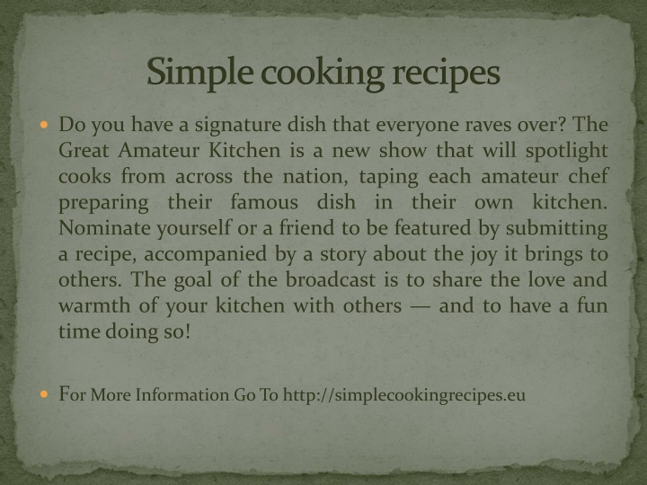 s imple cooking recipes n.