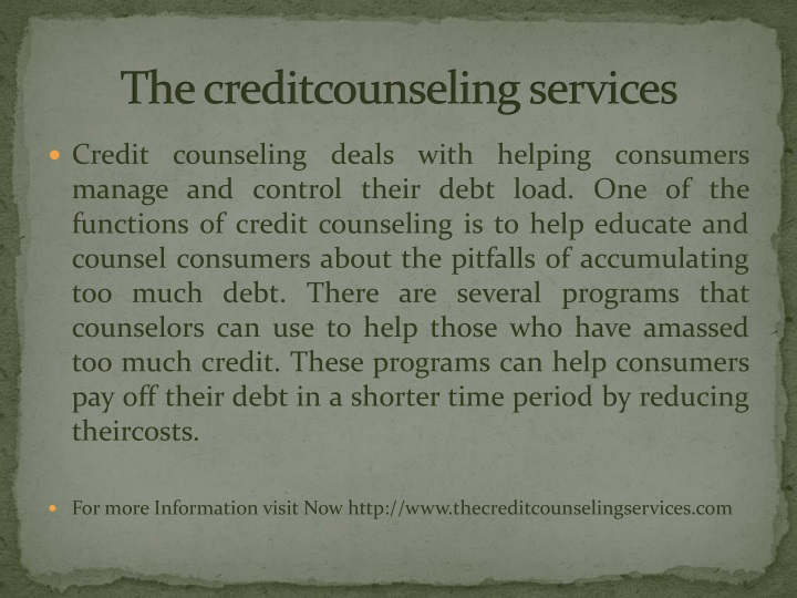 t he creditcounseling services n.