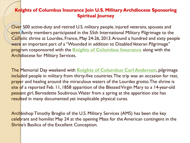 knights of columbus insurance join u s military archdiocese sponsoring spiritual journey n.