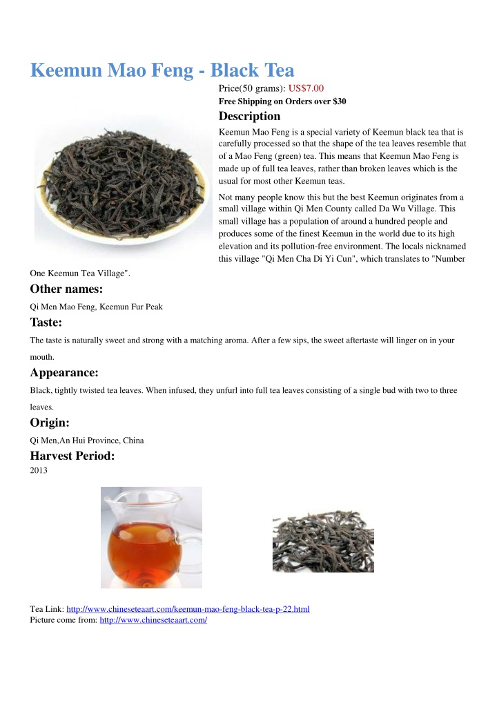 keemun mao feng black tea n.
