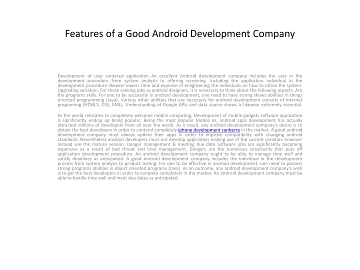 features of a good android development company n.