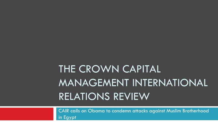 the crown capital management international relations review n.