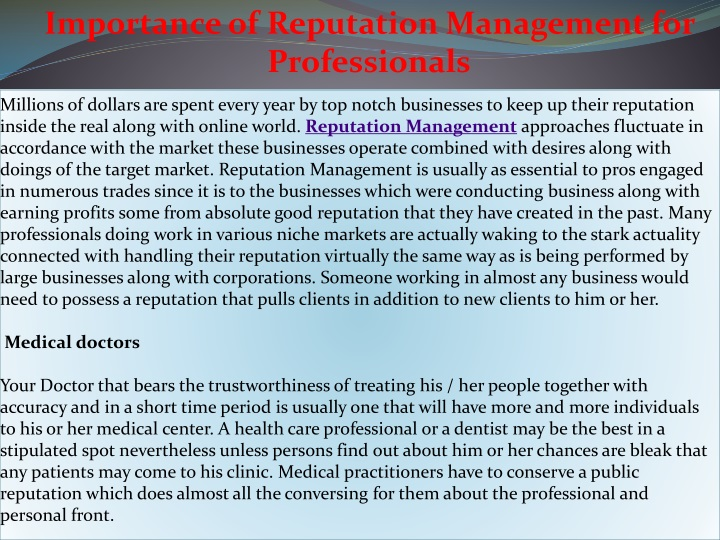 importance of reputation management n.