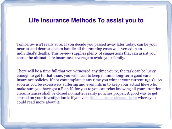 life insurance methods to assist you to n.