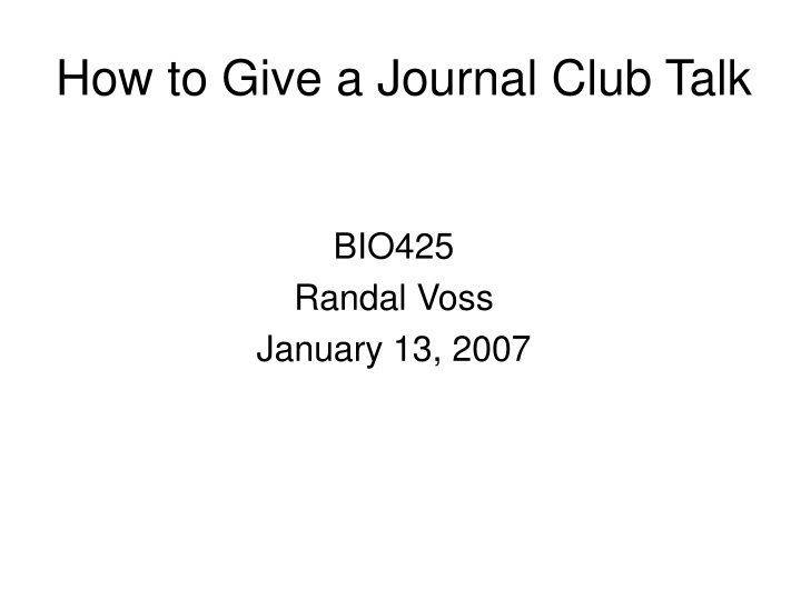 how to give a journal club talk n.