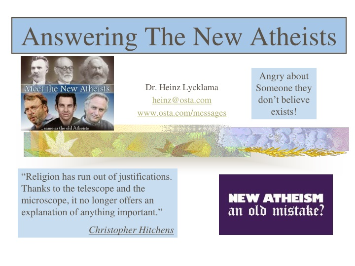 answering the new atheists n.