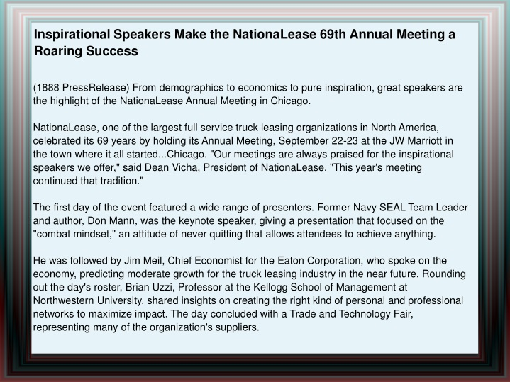 inspirational speakers make the nationalease 69th n.