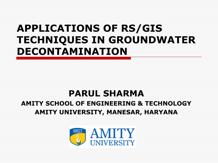 applications of rs gis techniques in groundwater decontamination n.