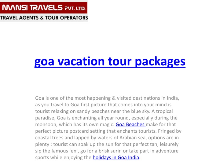 goa vacation tour packages n.