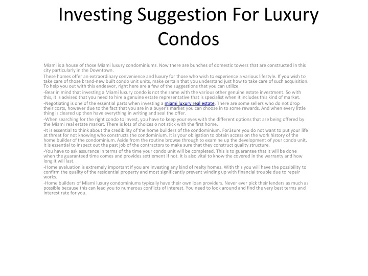 investing suggestion for luxury condos n.